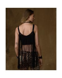 Denim & Supply Ralph Lauren Black Sleeveless Crochet Fringe Tank