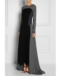 DKNY Gray Colorblock Jersey Maxi Dress