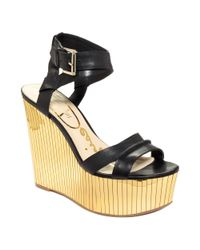 Enzo Angiolini Metallic Zamaz Platform Wedge Evening Sandals