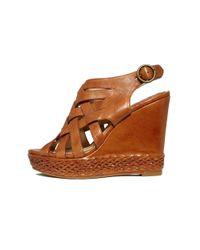Frye Brown Corrina Wedge Sandals