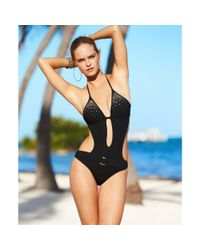 Guess Black Halter Studded Monokini One-piece