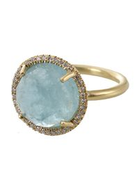 Irene Neuwirth Metallic Rose Cut Aquamarine Ring