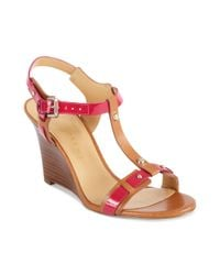 Ivanka Trump Red Bray Wedge Sandals