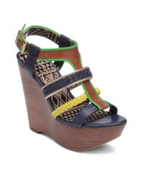 Jessica Simpson - Blue Kurtis Platform Wedge Sandals - Lyst