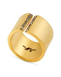Kenneth Cole - Metallic Gold Tone Pave Crystal Ring - Lyst