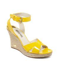 Michael Kors Yellow Kami Platform Wedge Sandals