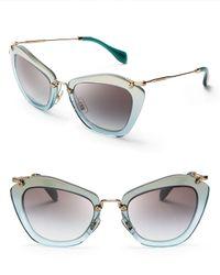 Miu Miu Blue Geometric Glitter Sunglasses
