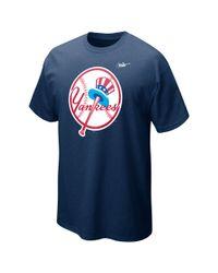 Nike Blue New York Yankees Cp Dugout Logo Tshirt for men