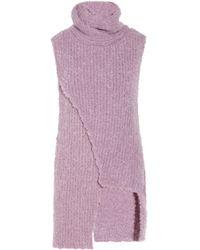 Thakoon Purple Asymmetric Bouclé Turtleneck Sweater