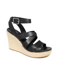 Timberland Black Danforth Platform Wedge Sandals