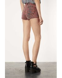 TOPSHOP Moto Red Leopard Print Hotpants