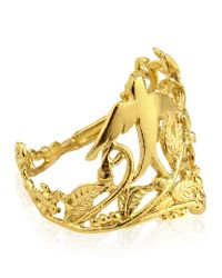 Alex Monroe Metallic 25th Anniversary Swallow and Flower Ring