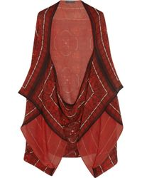 Alexander McQueen Red Ka Stained Glass-print Silk-georgette Cape