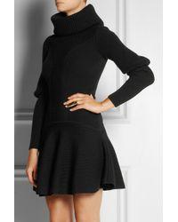 Alexander McQueen Black Ribbed Wool Dress