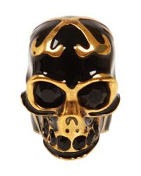 Alexander McQueen Metallic Gold and Black Enamel Skull Ring