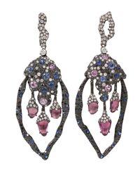 Arunashi Metallic Sapphire and Diamond Earrings