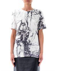 Balenciaga White Marble Print Silk Top