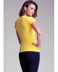 Bebe Yellow Logo Basic Rhinestone Tee