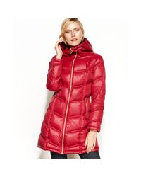 Calvin Klein - Red Packable Hooded Quilted Puffer - Lyst