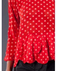 Comme des Garçons Red Polka Dot Print Blouse