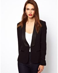 French Connection Black Blazer with Contrast Trim