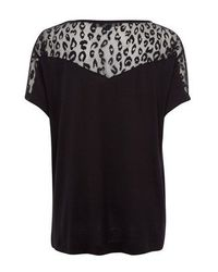 French Connection Black Leopard Lace Jersey Top