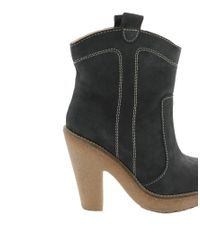 Ganni Blue Heeled Leather Ankle Boot with Razer Edge Sole