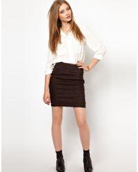 Ganni - Brown Denim Pencil Skirt in Leopard Print - Lyst