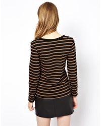 Ganni Brown Breton Striped Tshirt with Long Sleeves
