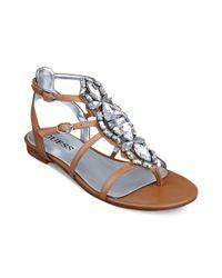 Guess Brown Viorella Jeweled Sandals