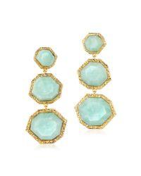 Isharya | Green Amazonite Goddess Three Stone Earrings | Lyst