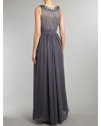 JS Collections Gray Chevron Beaded Maxi Dress