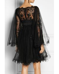 Marchesa Black Embellished Tulle Dress