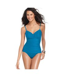 Miraclesuit Blue Rialto Ruched Tummy Control One Piece