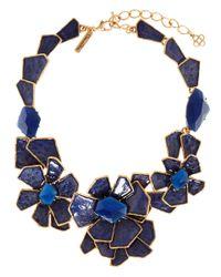 Oscar de la Renta - Blue Floral Bib Necklace - Lyst