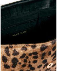 River Island Black Leopard Print Satchel Bag