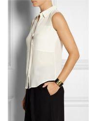 Theory White Duria Paneled Silk Shirt