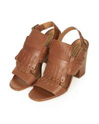 TOPSHOP Brown Rescue Fringe Sandals