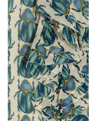 Tory Burch Green Josephine Printed Silk-georgette Blouse