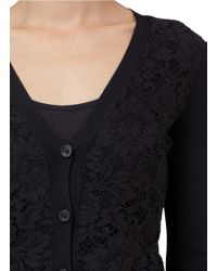 Valentino Black Lace-front Stretch Knit Cardigan