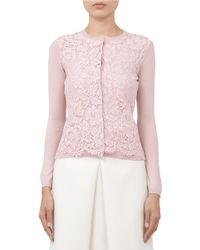 Valentino Pink Lace-front Wool-blend Cardigan