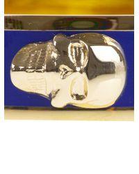 Alexander McQueen - Blue Brass Skull Bracelet - Lyst