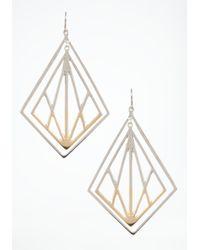 Bebe | Metallic Two Tone Lasercut Earrings | Lyst