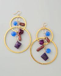 Devon Leigh | Multicolor Purple Pearl Chalcedony Cluster Hoop Earrings | Lyst