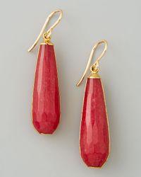 Devon Leigh Red Jade Teardrop Earrings