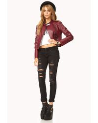Forever 21 Red Forever Cool Faux Leather Jacket