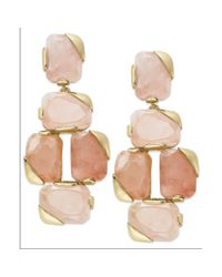 kate spade new york | Pink Kate Spade New York Earrings Gold tone Rose Quartz Stone Linear Earrings | Lyst