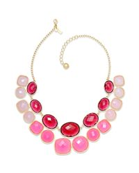 kate spade new york | Red Kate Spade New York Necklace Goldtone Pink Stone Doublerow Necklace | Lyst