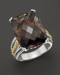 Lagos - Metallic Prism Smoky Quartz Ring in Sterling Silver and 18k Gold - Lyst