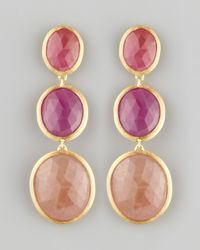 Marco Bicego Purple Siviglia 18k 3 Sapphire Drop Earrings